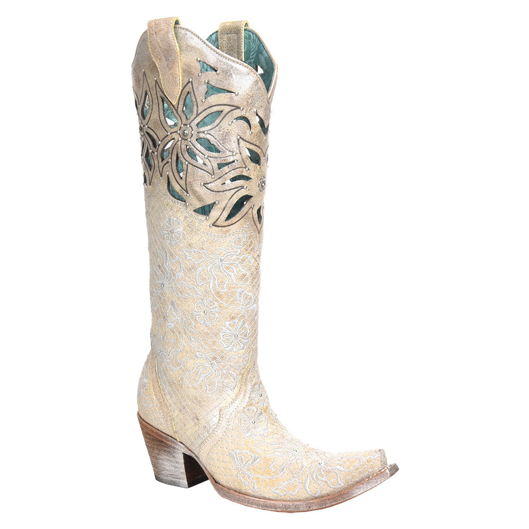 Corral Paulette Floral Cutout Western Wedding Cowgirl Boot