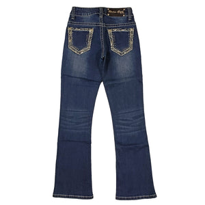 Rodeo Girl Border Embroidered Pocket Boot Cut Girls Jean