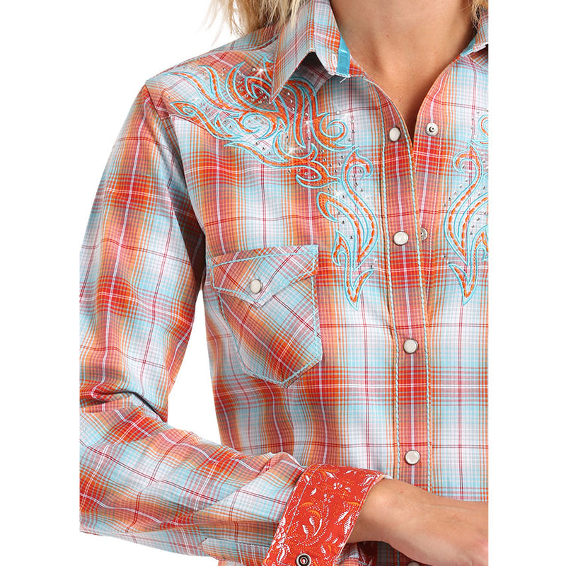 Rough Stock Orange & Blue Plaid Shirt
