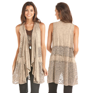 Rock & Roll Cowgirl Grey Stone Washed Cascade Womens Vest