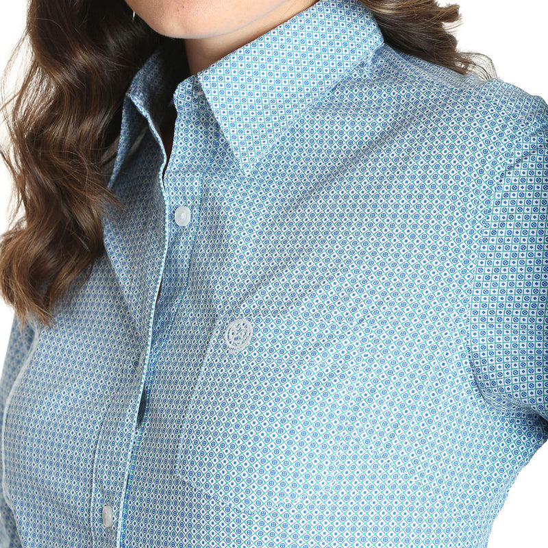 George Strait for Her Geometric Print Women's Blue Shirt