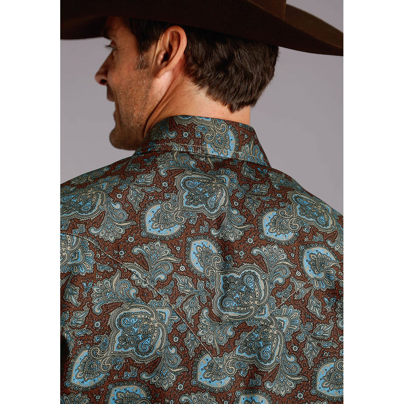 Stetson Rail Paisley Print Brown & Teal Mens Shirt