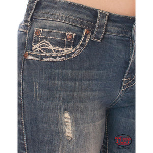Cowgirl Tuff Ride Fearless Boot Cut Jeans