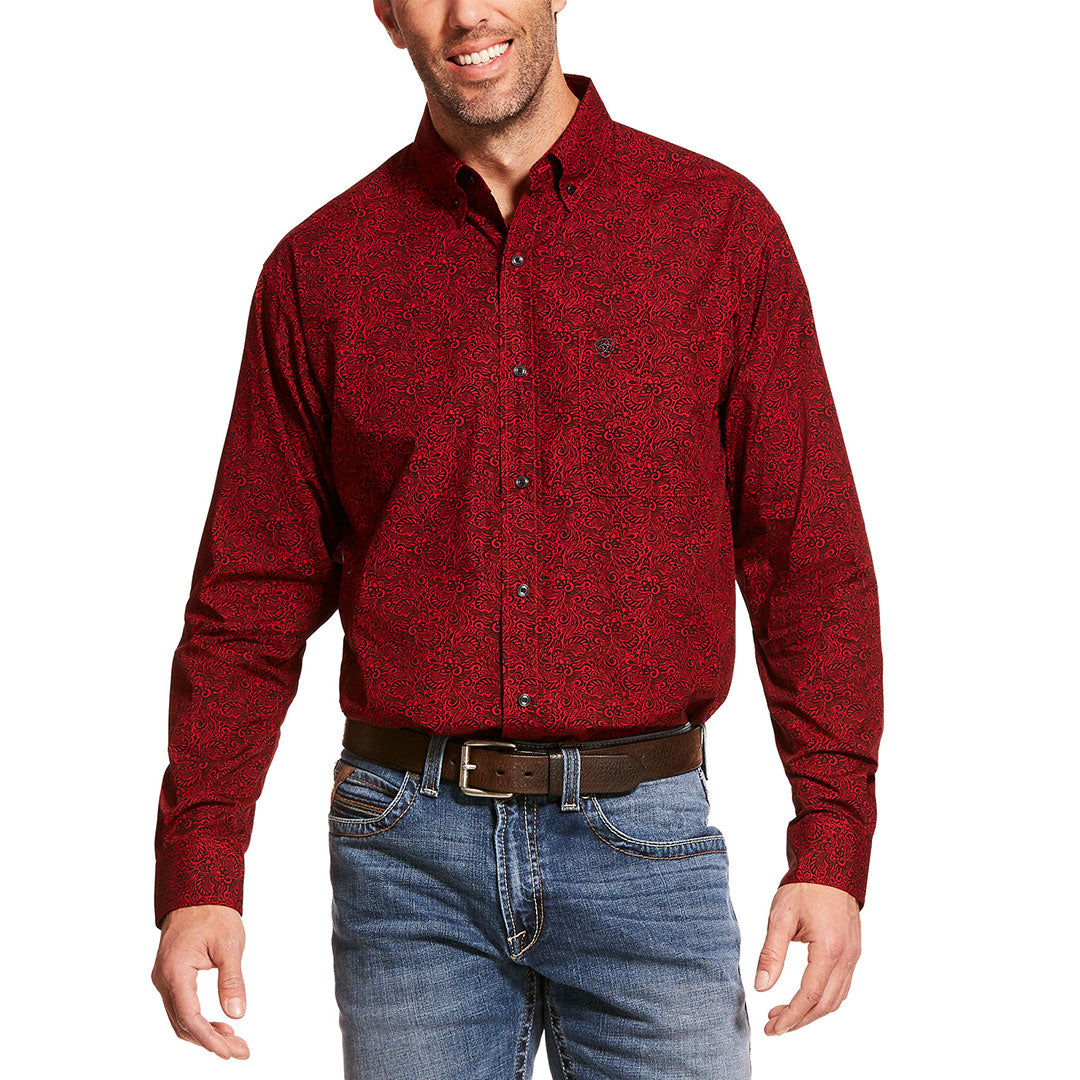 Ariat Dalanzo Paisley Print Cranberry Crimson Mens Shirt