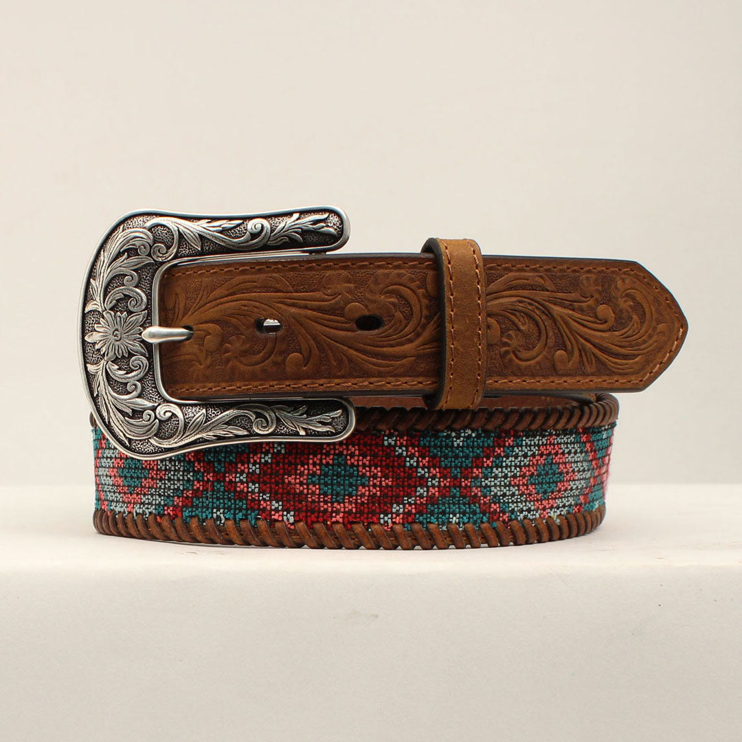 Ariat Diamond Fabric Inlay Brown Womens Belt
