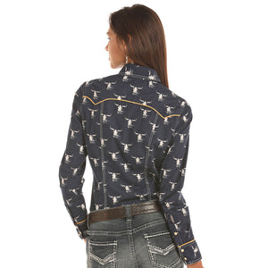 Rock & Roll Cowgirl Steer Print Navy Shirt