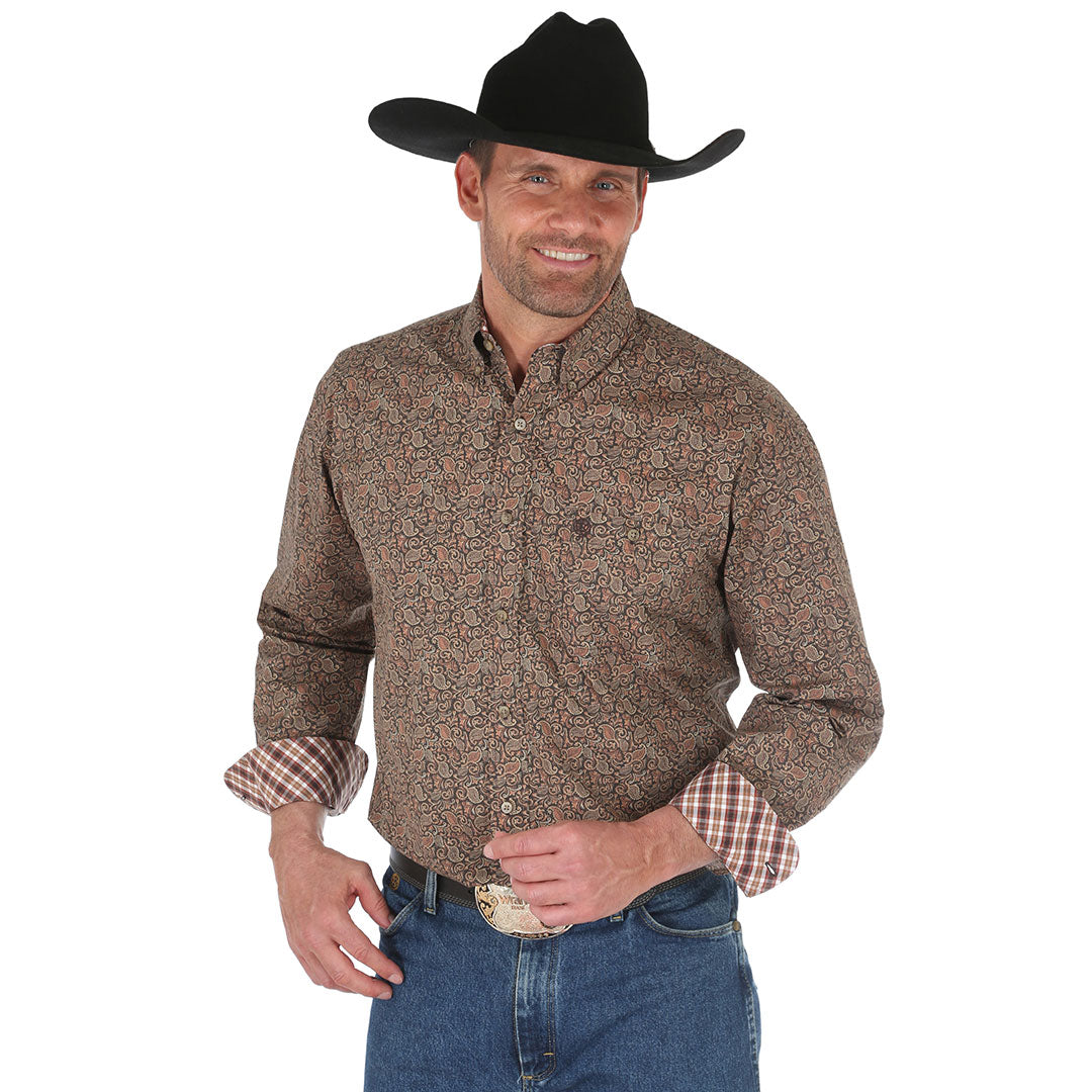George Strait Brown Filigree Print Shirt