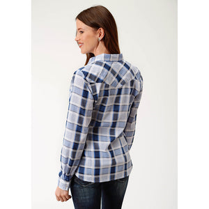 Roper Blue & White Windowpane Plaid Shirt