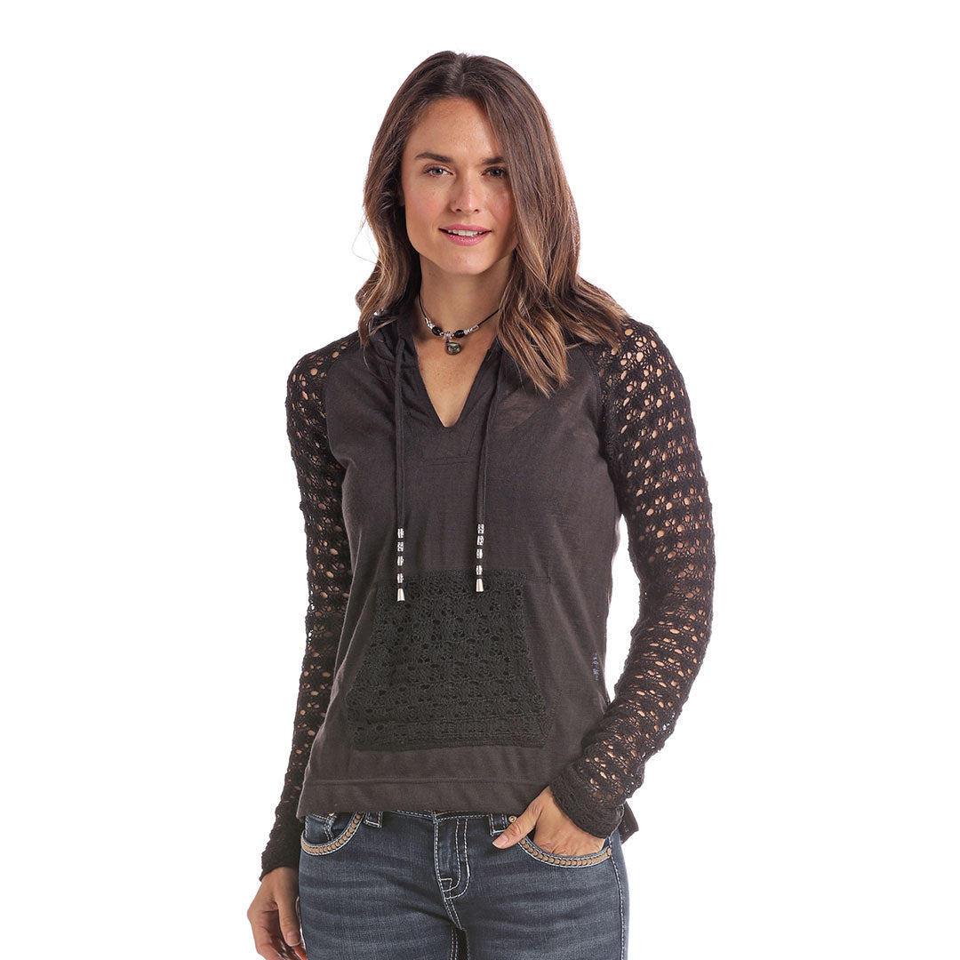 Panhandle Black Crochet Knit Women's Hoodie