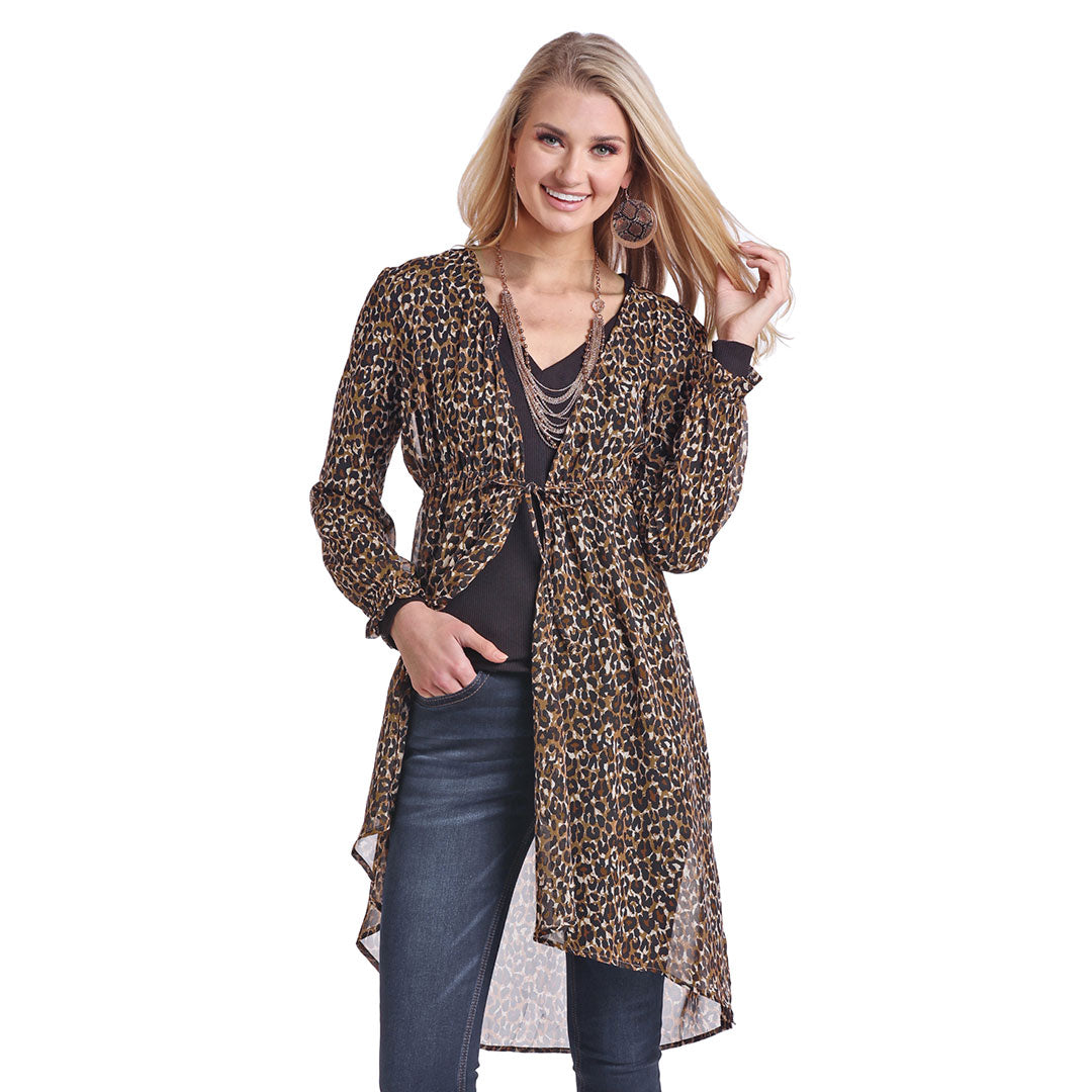 Panhandle Leopard Print Tie-Up Womens Duster