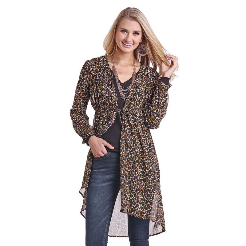 Panhandle Women's Leopard Print Tie-Up Duster