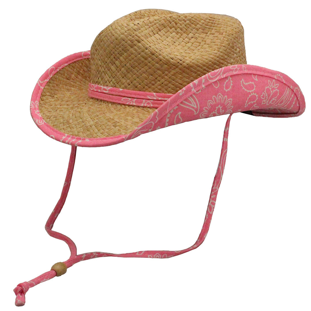 Conner Hats Girls Country Western Pink Trim Straw Hat