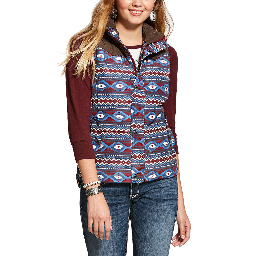 Ariat Country Insulated Blue & Burgundy Womens Vest