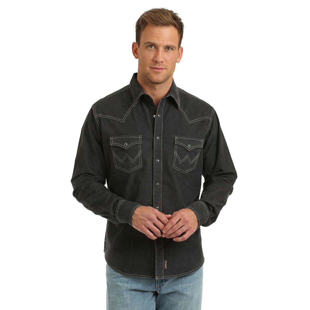 Wrangler Retro® Stitch Accent Mens Charcoal Shirt