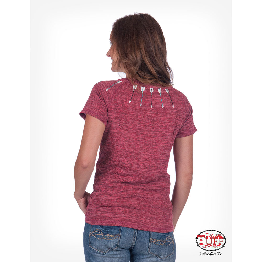 Cowgirl Tuff Arrow Accent Women's Red Tee