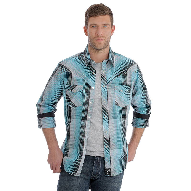 Rock 47® by Wrangler® Turquoise & Black Plaid Shirt