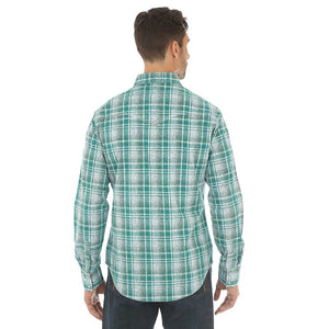Wrangler® Retro® Green & White Plaid Print Shirt