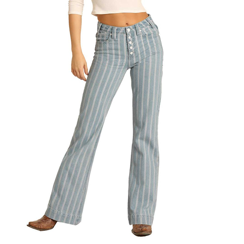Rock & Roll Denim Women's High Rise Striped Trouser