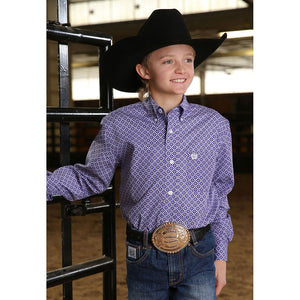 Cinch Purple Medallion Print Shirt