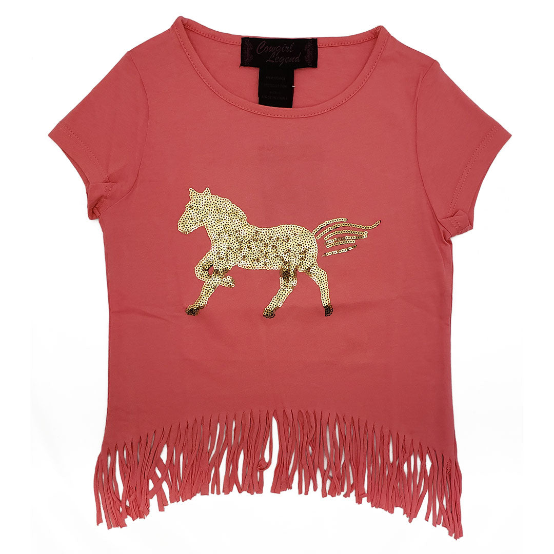 Rodeo Girl Pink Golden Horse Fringe Shirt