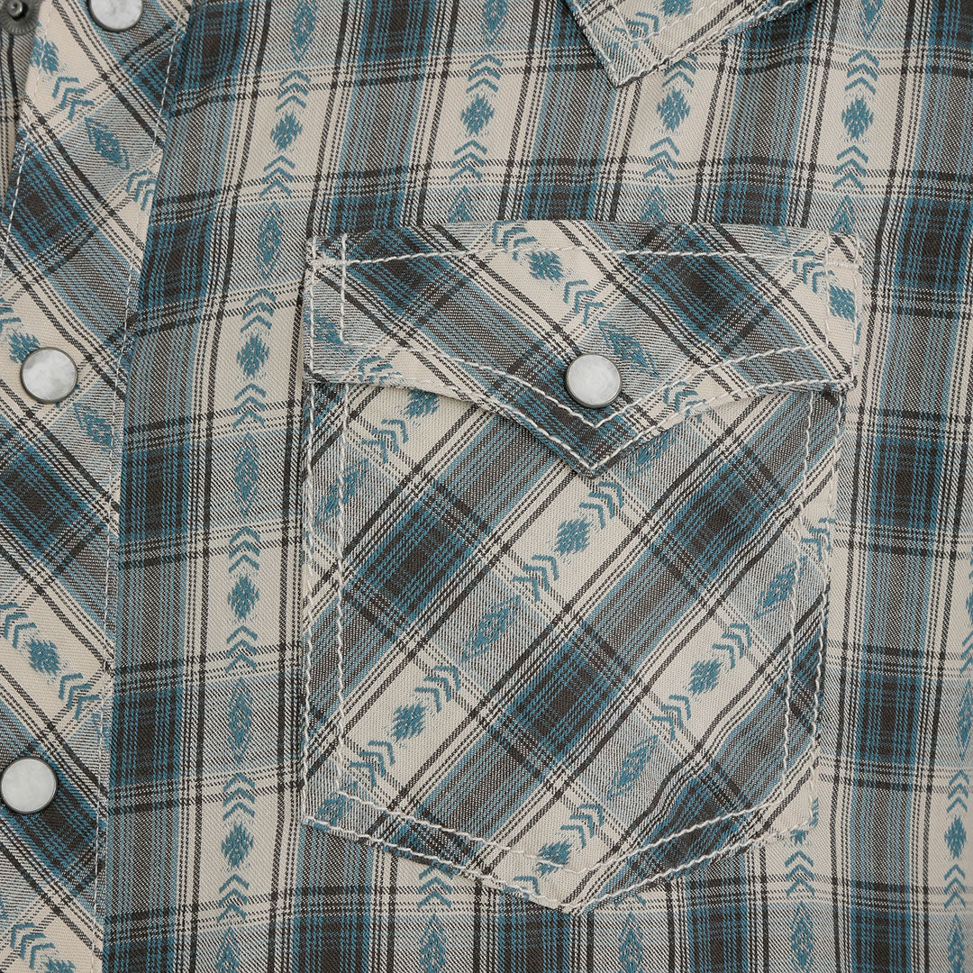 Wrangler Retro® Premium Khaki & Teal Plaid Shirt