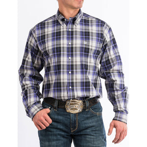 Cinch Purple & Black Plaid Western Shirt