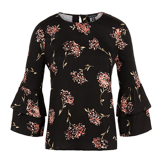 Tribal Ruffle Sleeve Womens Black & Pink Blouse