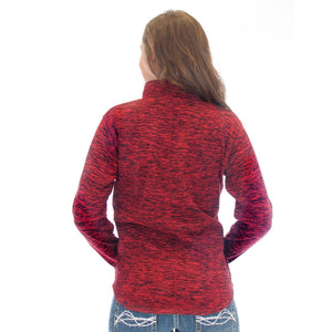 Cowgirl Tuff Red Fleck Fleece Pullover