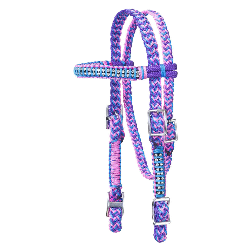 Tough-1 Mini Braided Purple, Turquoise & Pink Headstall