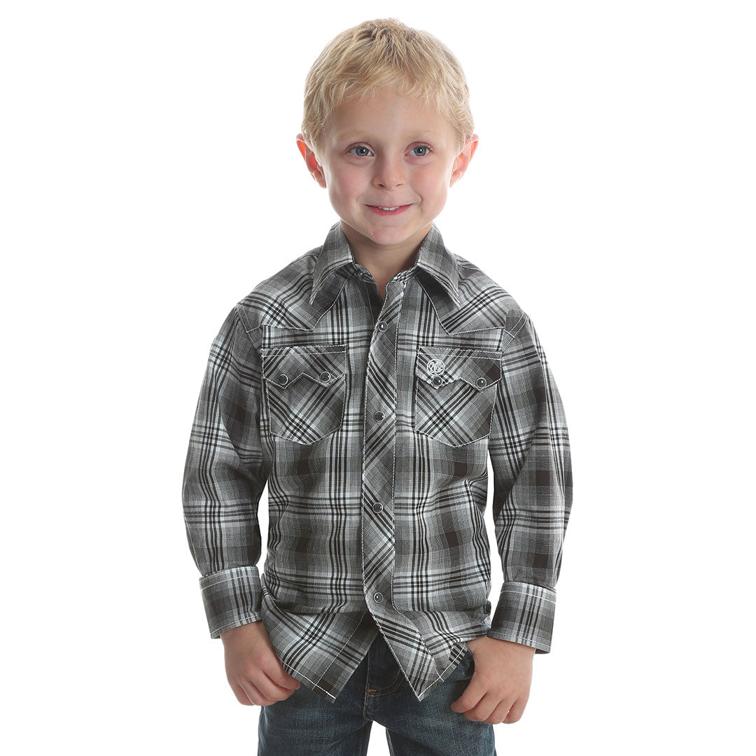 Wrangler® Retro® Black & White Plaid Shirt