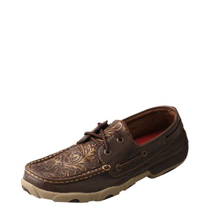Twisted X Floral Embossed Brown Driving Moccasins