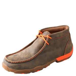 Twisted X Neon Orange Chukka Mens Driving Moc