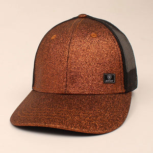 Ariat Glitter and Mesh Messy Bun Womens Copper Cap