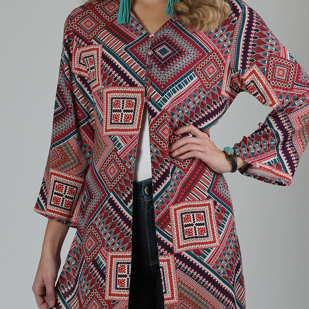 Wrangler Wine & Gold Patchwork Print Womens Duster