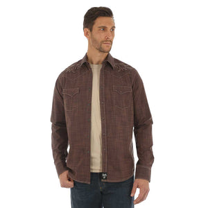 Rock 47® by Wrangler® Brown Embroidered Shirt