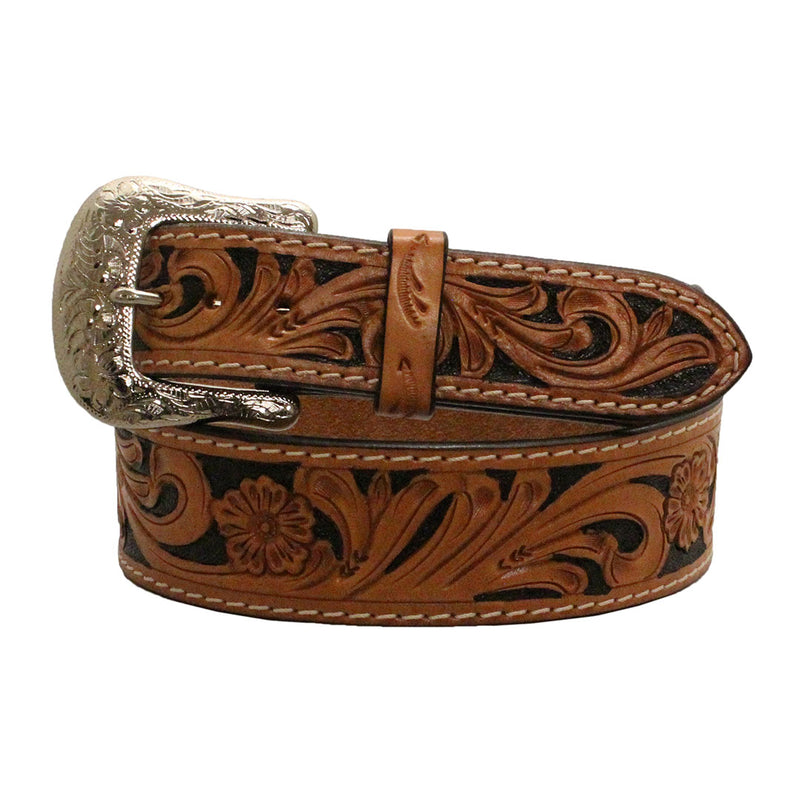 Twisted X Tan & Black Tooled Floral Belt