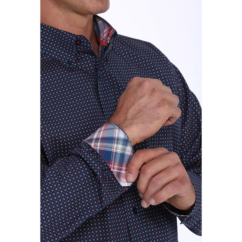Cinch Navy, White & Red Geometric Print Mens Shirt