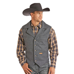 Powder River Outfitters Wool Heather Mens Navy Vest