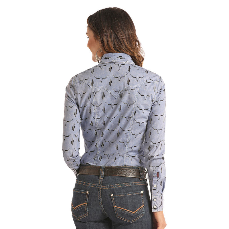 Rock & Roll Cowgirl Blue Longhorn Skull Print Shirt