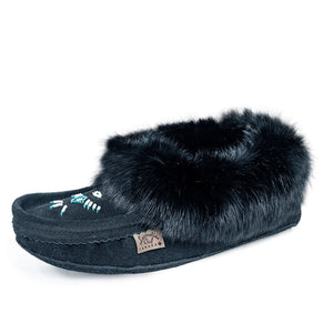 Laurentian Chief Black Fur Women's Moccasin