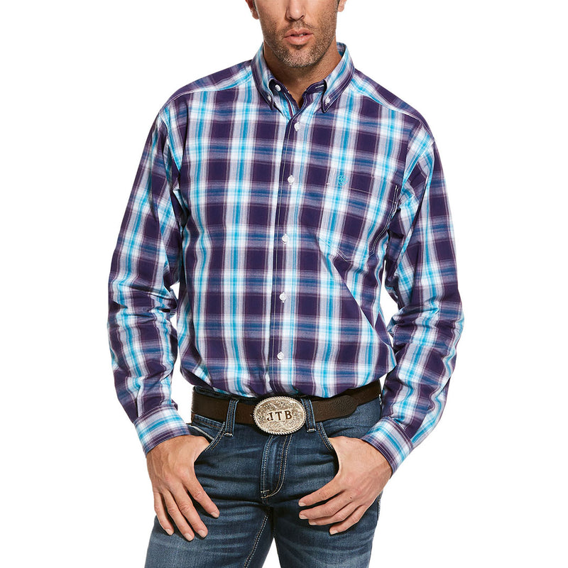 Ariat Pro Series Santos Turquoise & Purple Plaid Mens Shirt