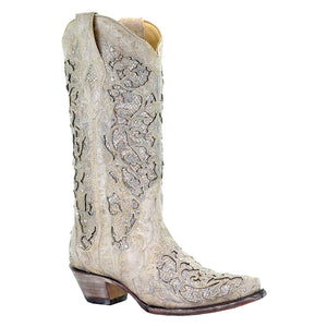 Corral Martina White Glitter Western Wedding Cowgirl Boot