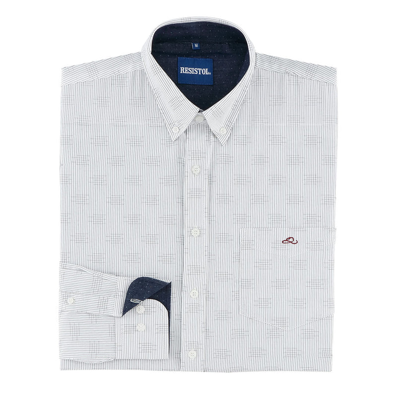 Resistol Helm Pinstripe & Basket Weave Mens White Shirt