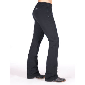 Cowgirl Tuff Work Hard Play Hard Womens Black Pant