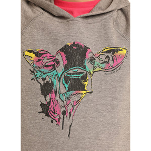 Rock & Roll Cowgirl Cow Graphic Grey Girls Hoodie