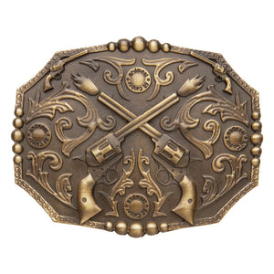 AndWest Antique Crossed Pistols Buckle