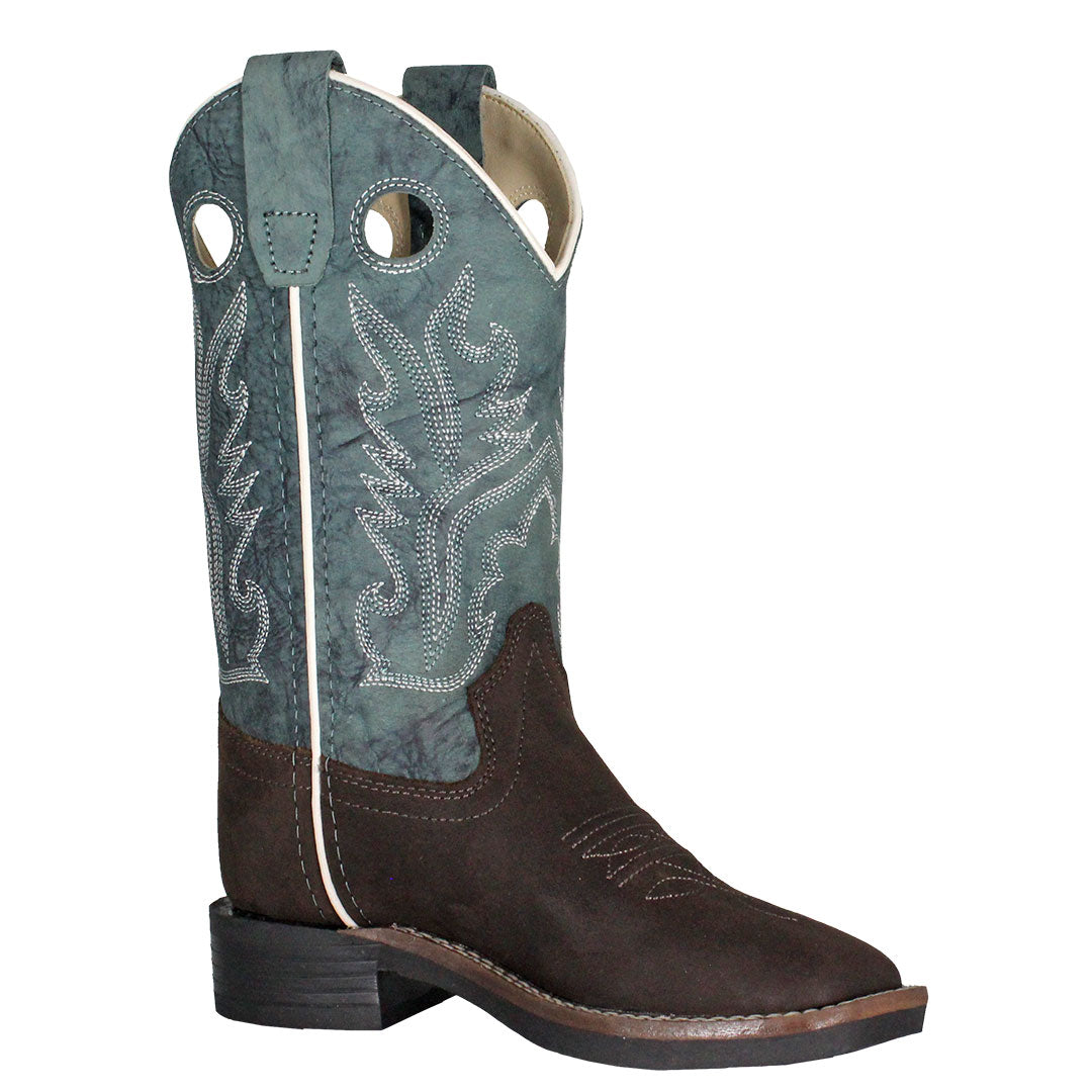 Old West Kids Blue & Brown Western Boots