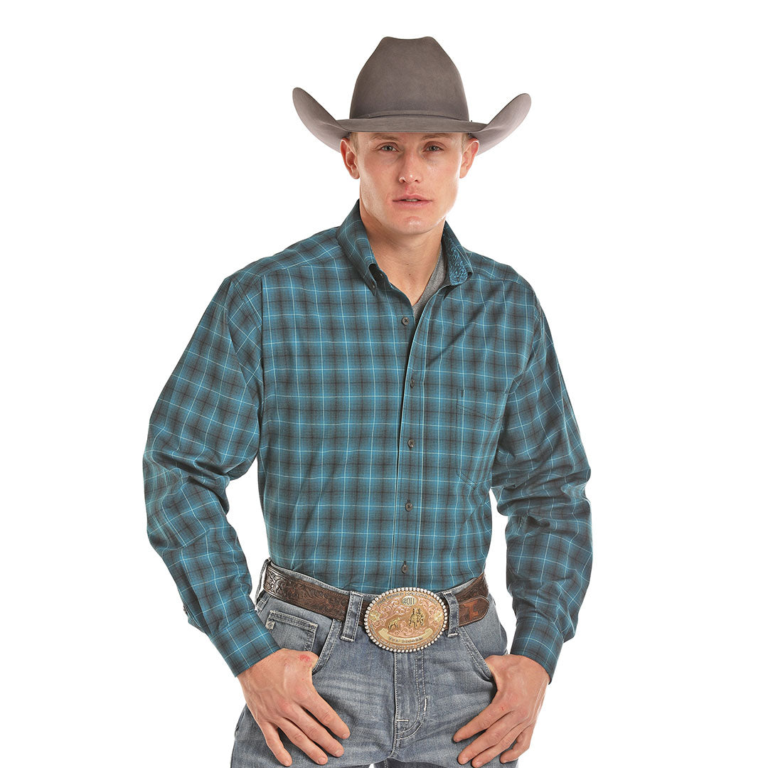 Tuf Cooper Competition Turquoise Plaid Shirt