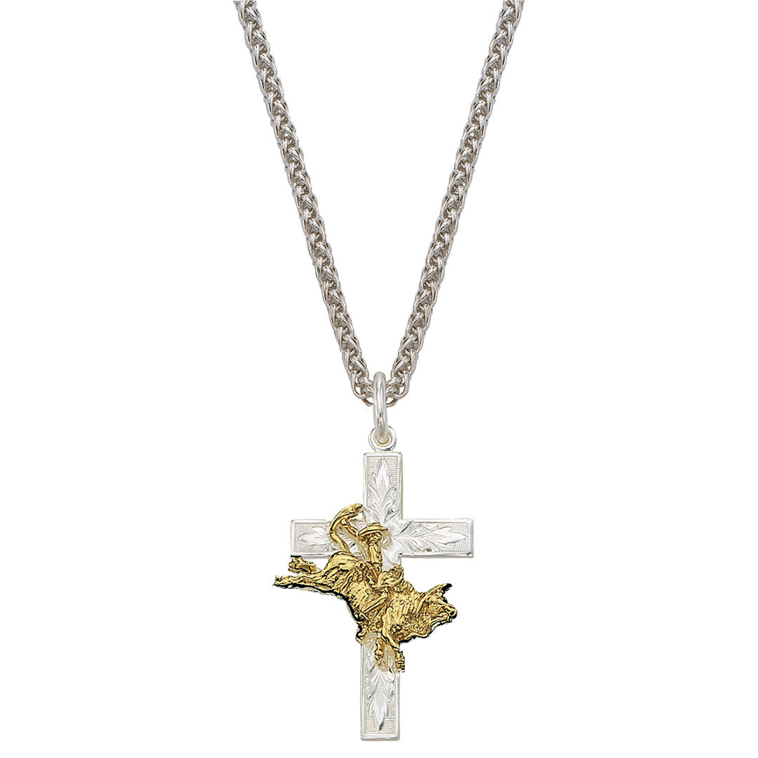 Montana Silversmiths Bull Rider Cross Necklace