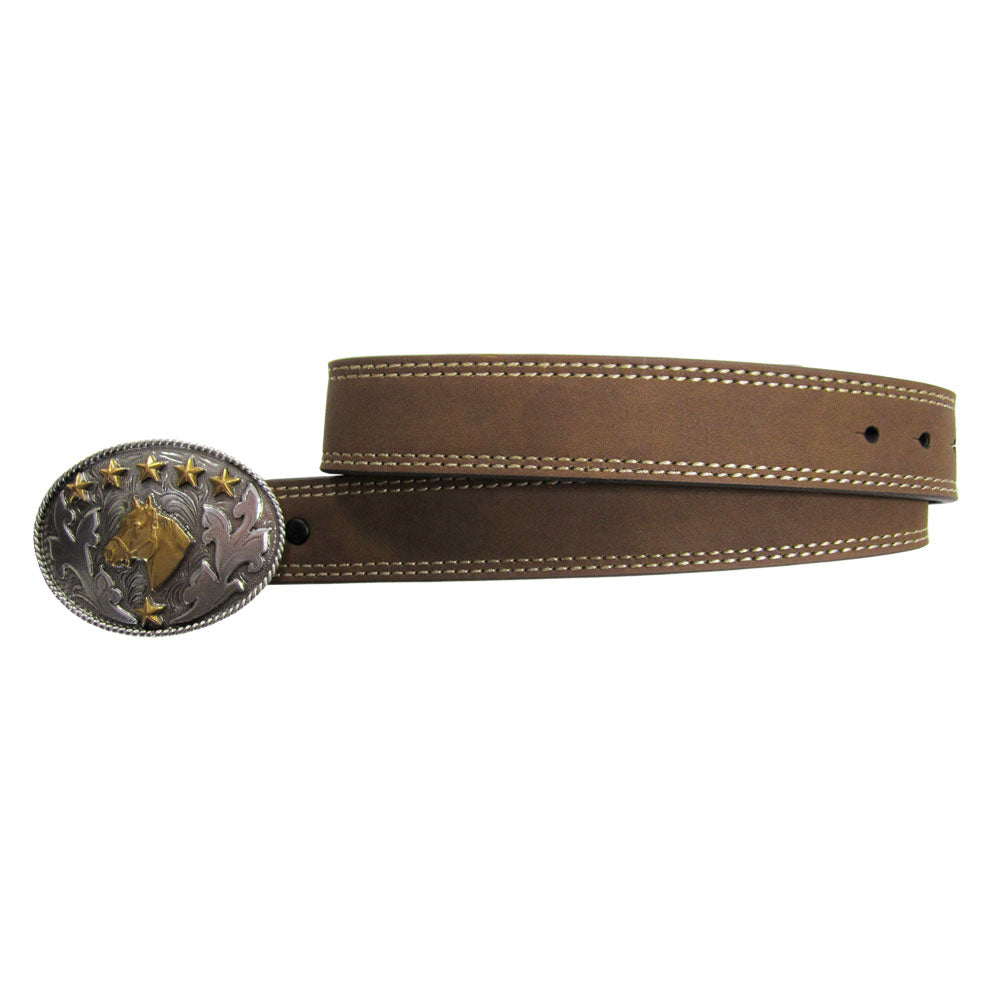 AndWest Horse Head Buckle & Brown Belt Set